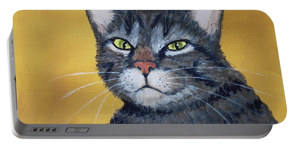 Malakhova Portable Battery Charger featuring the painting Cool Cat by Anastasiya Malakhova