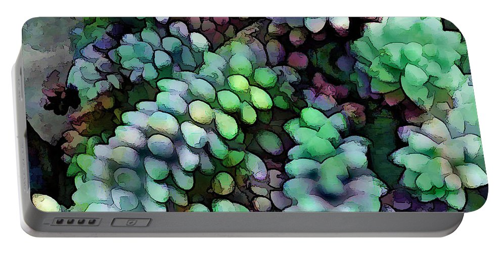 Cactus Portable Battery Charger featuring the painting Cool Hued Burro's Tails In The Hot Desert by Elaine Plesser
