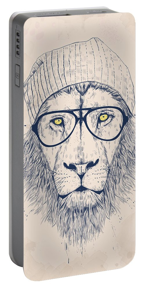 Lion Portable Battery Charger featuring the digital art Cool lion by Balazs Solti