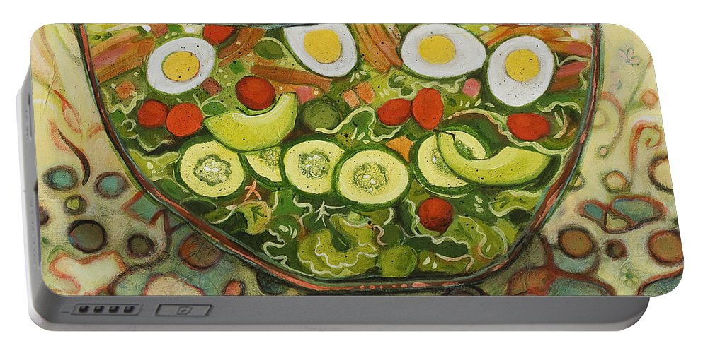 Jen Norton Portable Battery Charger featuring the painting Cool Summer Salad by Jen Norton