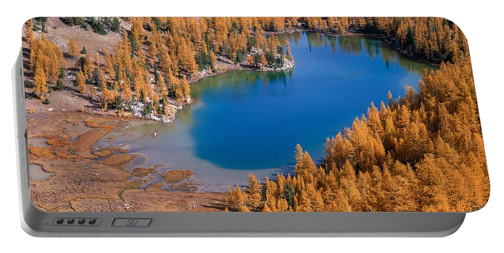 Fall Color Portable Battery Charger featuring the photograph Cooney Lake Larches by Tracy Knauer