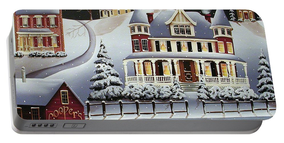 Art Portable Battery Charger featuring the painting Coopersville by Catherine Holman