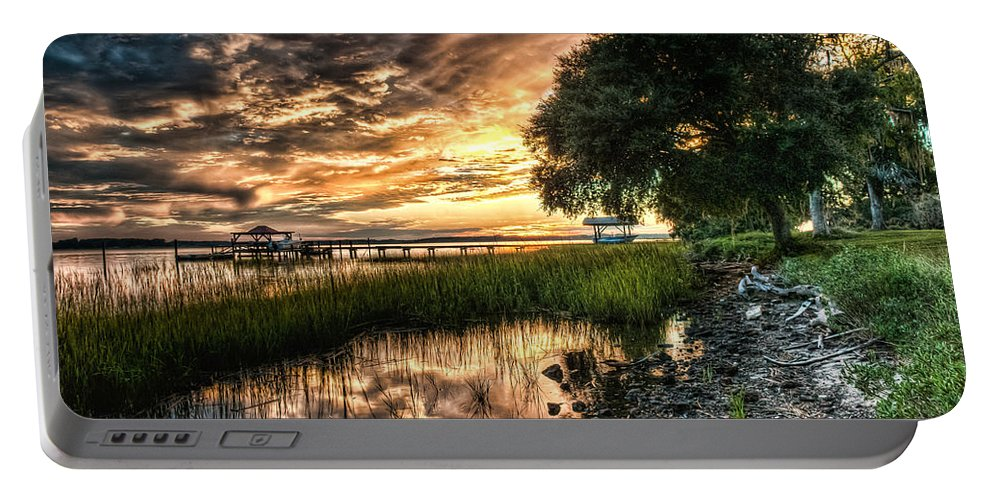 Clouds Portable Battery Charger featuring the photograph Coosaw Plantation Sunset by Scott Hansen