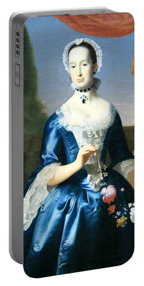 Anne Fairchild Bowler Portable Battery Charger featuring the photograph Copley's Anne Fairchild Bowler -- Mrs. Metcalf Bowler by Cora Wandel