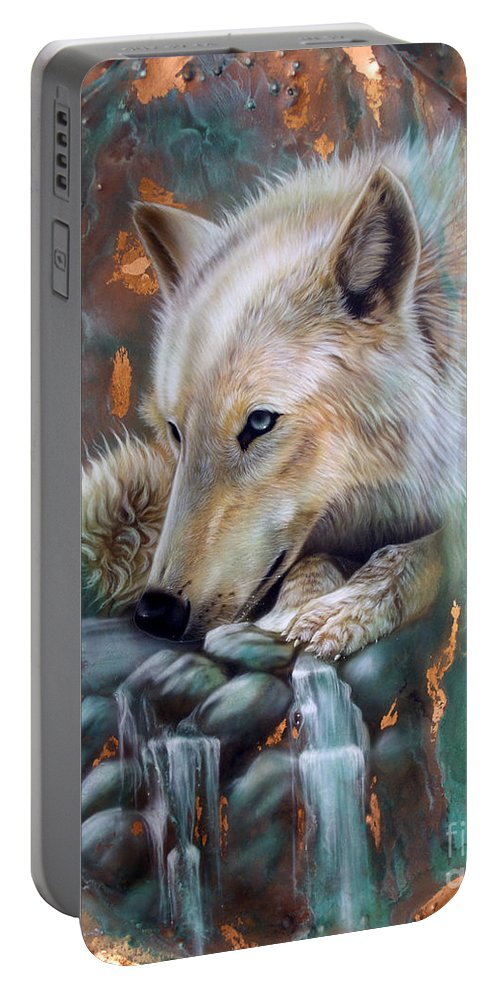 Copper Portable Battery Charger featuring the painting Copper Arctic Wolf by Sandi Baker