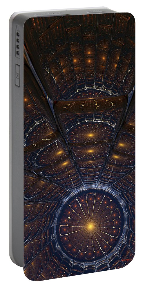 Abstract Portable Battery Charger featuring the digital art Copper Cathedral by James Kramer