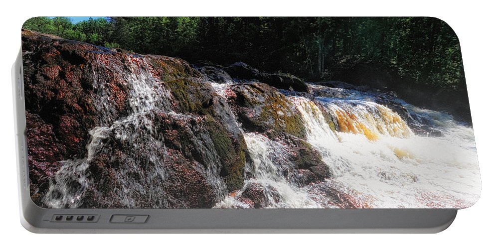 Wisconsin Portable Battery Charger featuring the photograph Copper Falls by Lars Lentz