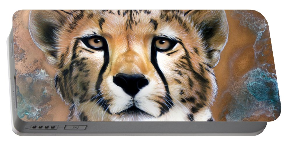 Copper Portable Battery Charger featuring the painting Copper Flash - Cheetah by Sandi Baker