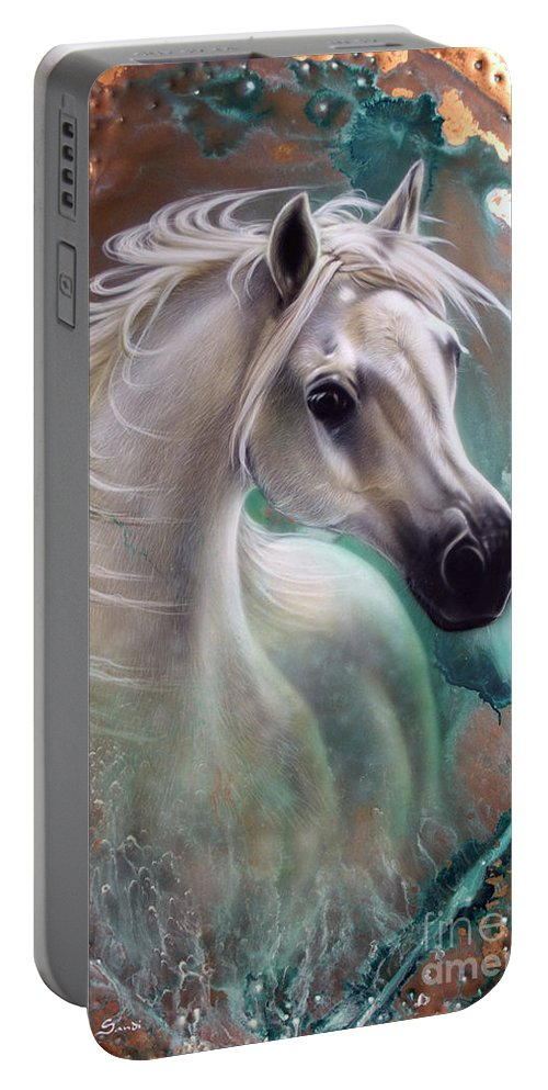 Copper Portable Battery Charger featuring the painting Copper Grace - Horse by Sandi Baker