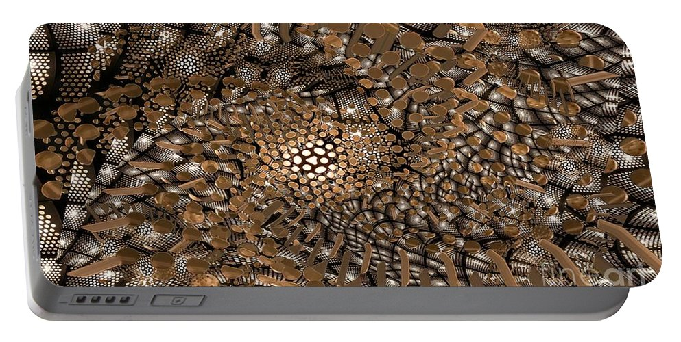 Abstract Portable Battery Charger featuring the digital art Copper Head by Ron Bissett