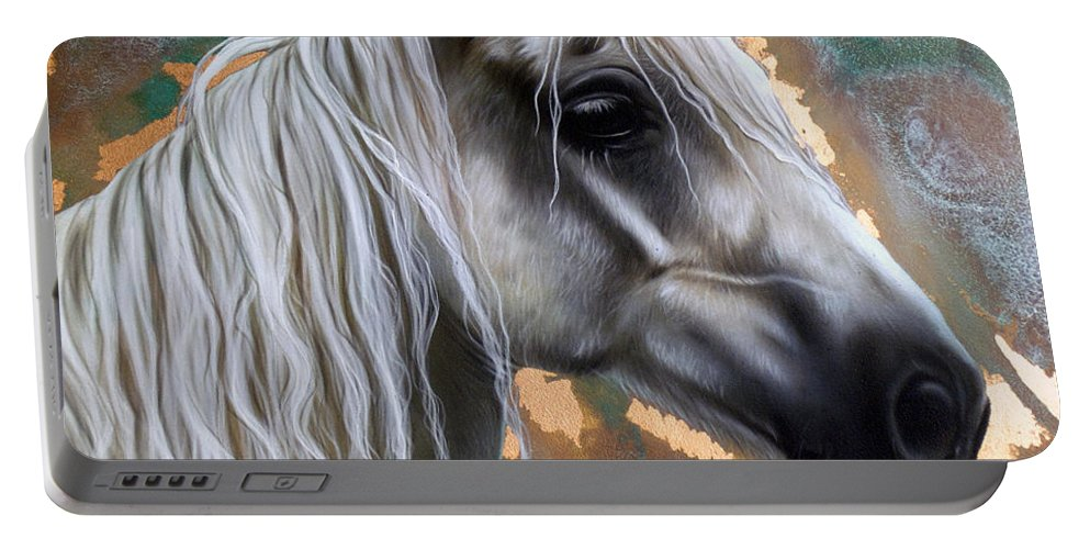 Copper Portable Battery Charger featuring the painting Copper Horse by Sandi Baker