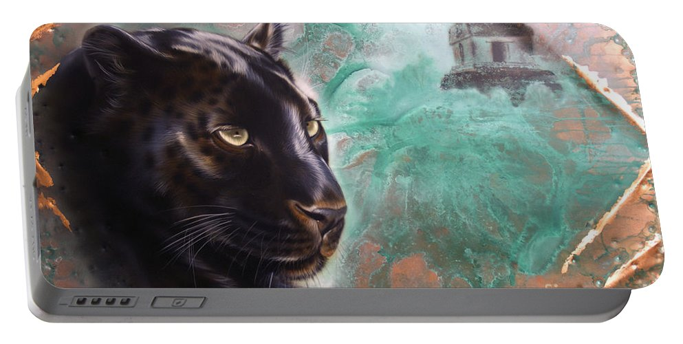 Copper Portable Battery Charger featuring the painting Copper Jaguar by Sandi Baker