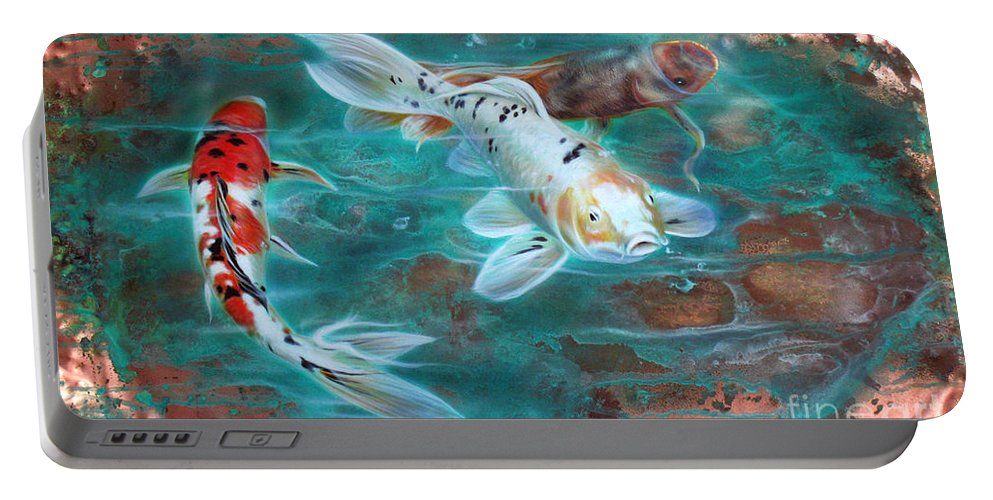 Copper Portable Battery Charger featuring the painting Copper Koi by Sandi Baker