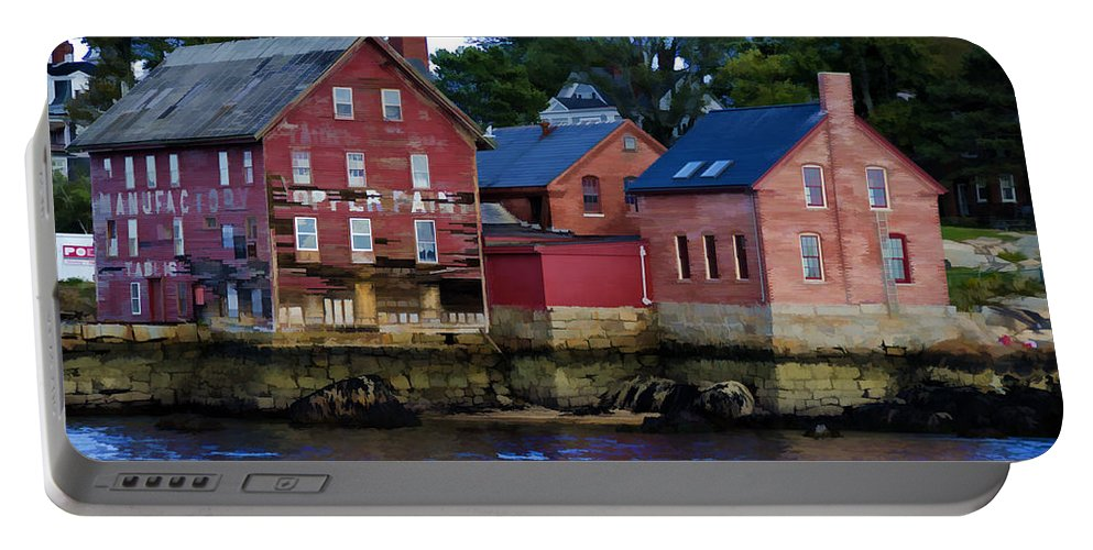 Gloucester Portable Battery Charger featuring the photograph Copper Paint Building by Donna Doherty