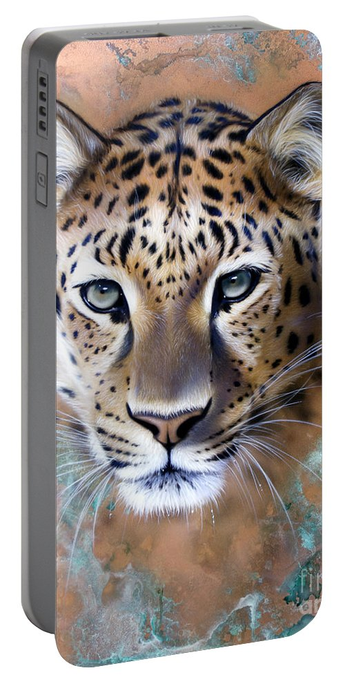 Copper Portable Battery Charger featuring the painting Copper Stealth - Leopard by Sandi Baker