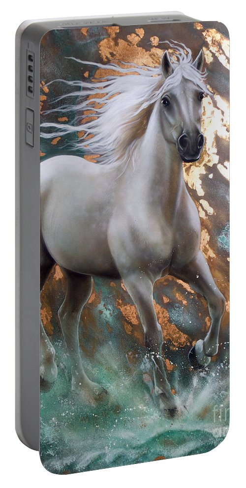 Copper Portable Battery Charger featuring the painting Copper Sundancer - Horse by Sandi Baker