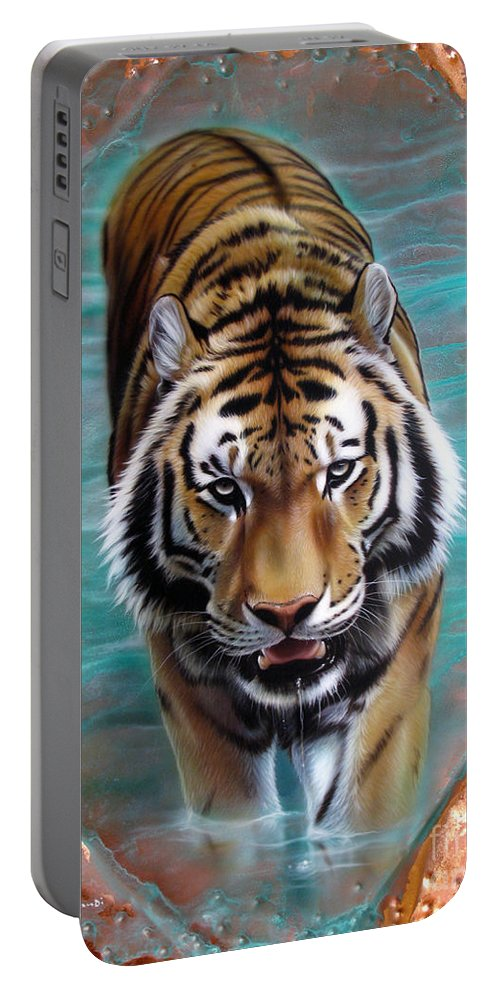 Copper Portable Battery Charger featuring the painting Copper Tiger 3 by Sandi Baker