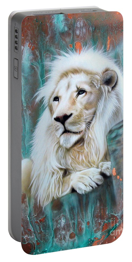 Copper Portable Battery Charger featuring the painting Copper White Lion by Sandi Baker