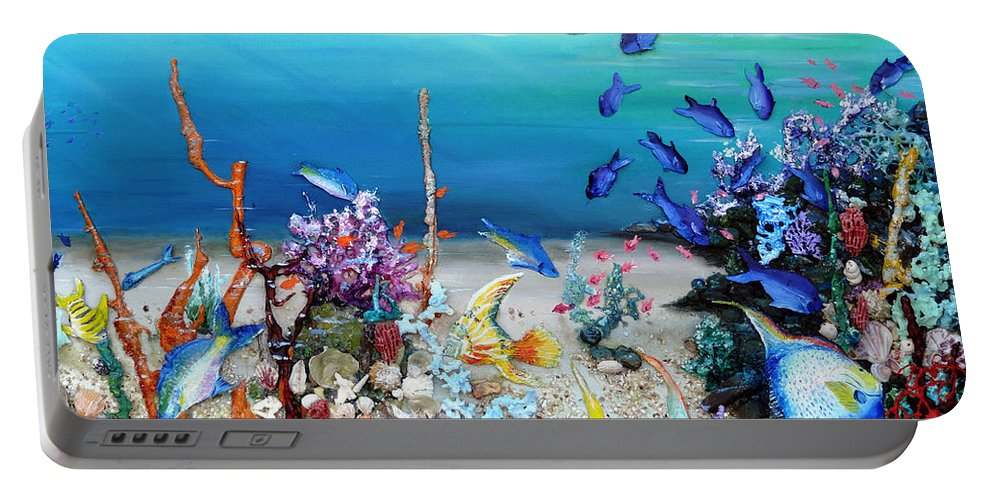 Coral Reef Portable Battery Charger featuring the painting Coral Reef Blues by Karin Dawn Kelshall- Best