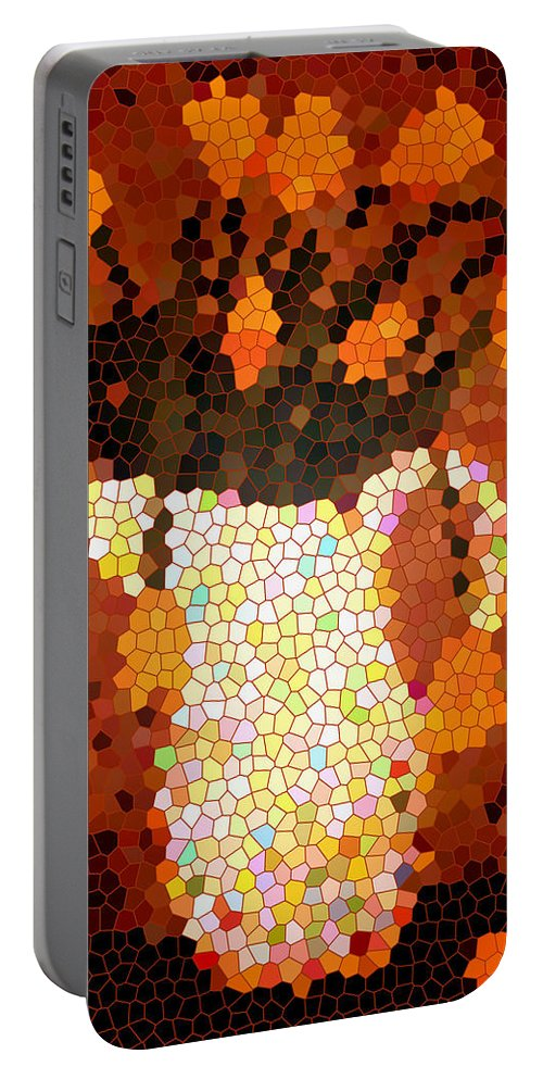 Coral Tulips In Stained Glass Portable Battery Charger featuring the digital art Coral Tulips In Stained Glass by Barbara Griffin
