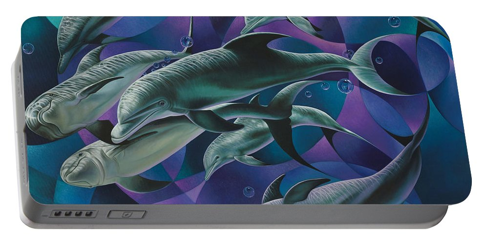 Dolphins Portable Battery Charger featuring the painting Corazon Del Mar by Ricardo Chavez-Mendez