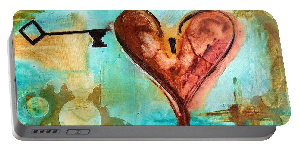 Heart Portable Battery Charger featuring the painting 1 Corinthians 13 by Ivan Guaderrama