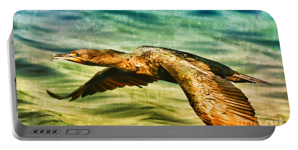 Cormorant Portable Battery Charger featuring the photograph Cormorant On The Move by Deborah Benoit