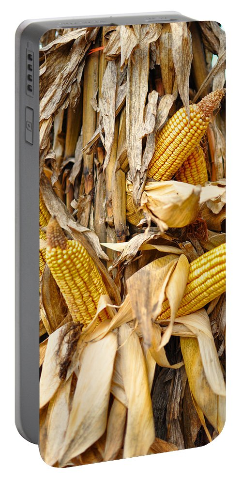 Outdoors Portable Battery Charger featuring the photograph Corn Shock - Sign Of Autumn by Paulette B Wright