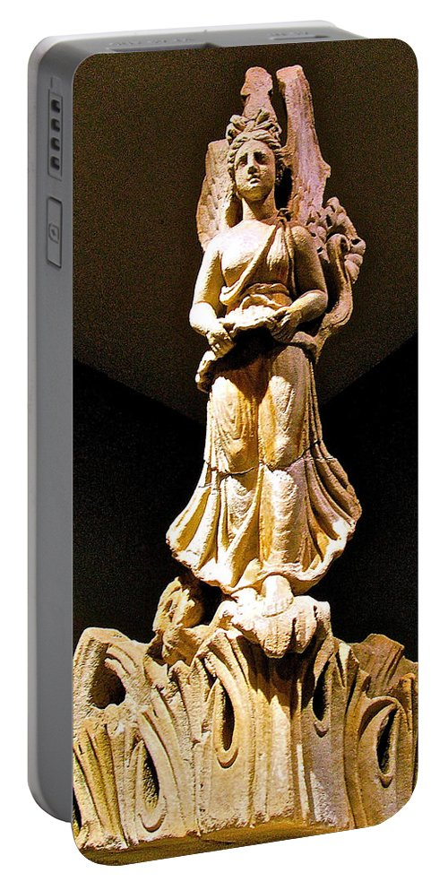 Corner Column In Bergama Museum Portable Battery Charger featuring the photograph Corner Column In Bergama Museum-turkey by Ruth Hager