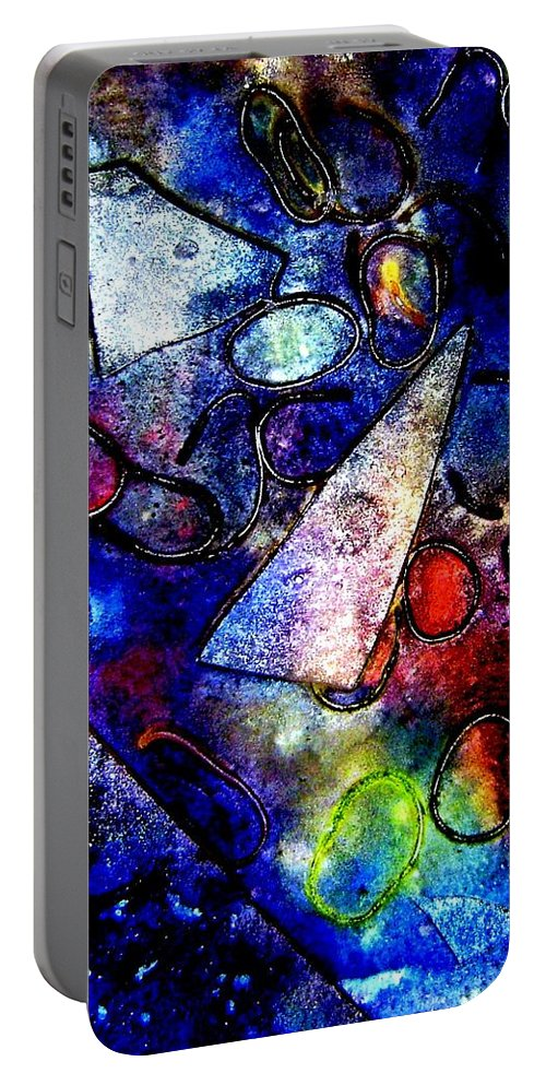 Abstract Portable Battery Charger featuring the mixed media Cornucopia by John Nolan