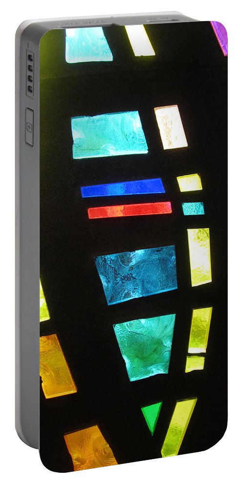 Coronado Hospital Portable Battery Charger featuring the photograph Coronado Hospital Chapel Stained Glass by Sharon French
