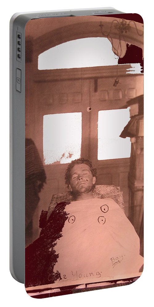 Corpse Bullet Holes Train Robber Cole Estes Aka Cole Young 1896 Collage Color Toning Added Portable Battery Charger featuring the photograph Corpse Bullet Holes Train Robber Cole Estes Aka Cole Young 1872-1896 Collage 1896-2012 by David Lee Guss