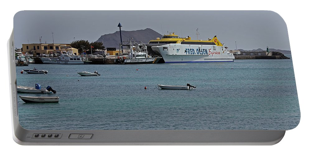 Corralejo Portable Battery Charger featuring the photograph Corralejo Harbour by Tony Murtagh