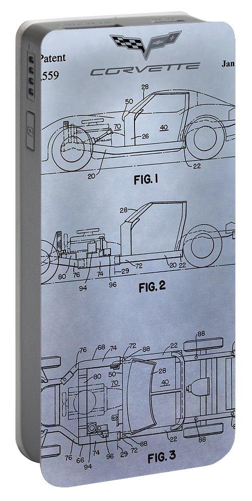 Corvette Patent Portable Battery Charger featuring the digital art Corvette Patent by Dan Sproul