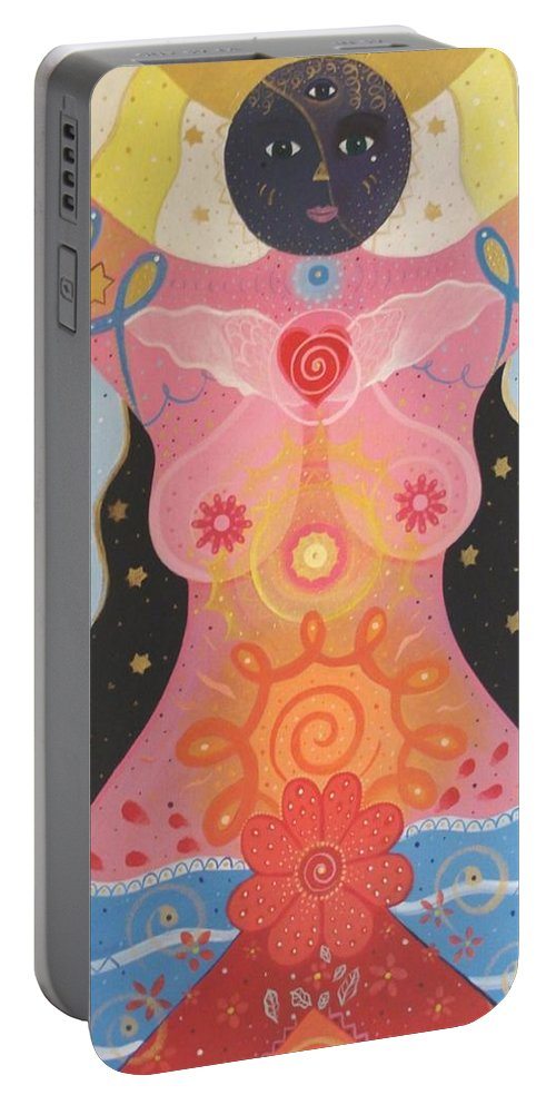 Goddess Portable Battery Charger featuring the painting Cosmic Carnival I V Aka Creation by Helena Tiainen