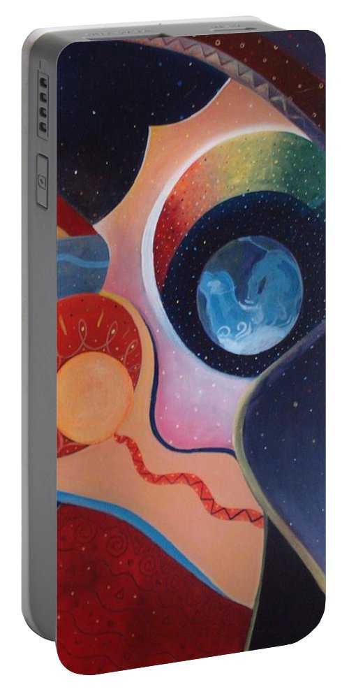 Wanting Portable Battery Charger featuring the painting Cosmic Carnival IIl Aka Desire by Helena Tiainen