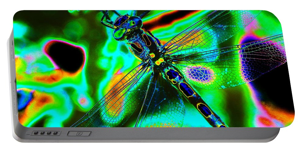 Dragonflies Portable Battery Charger featuring the photograph Cosmic Dragonfly Art 1 by Ben Upham III