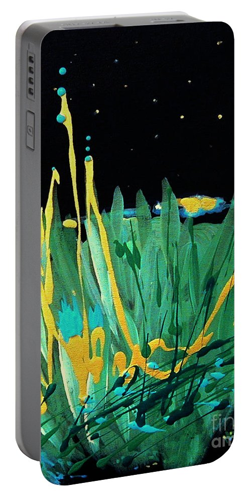 Urantia Portable Battery Charger featuring the painting Cosmic Island by Holly Carmichael
