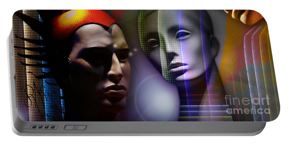 Cosmic Portable Battery Charger featuring the digital art Cosmic Mannequins Triad by Rosa Cobos