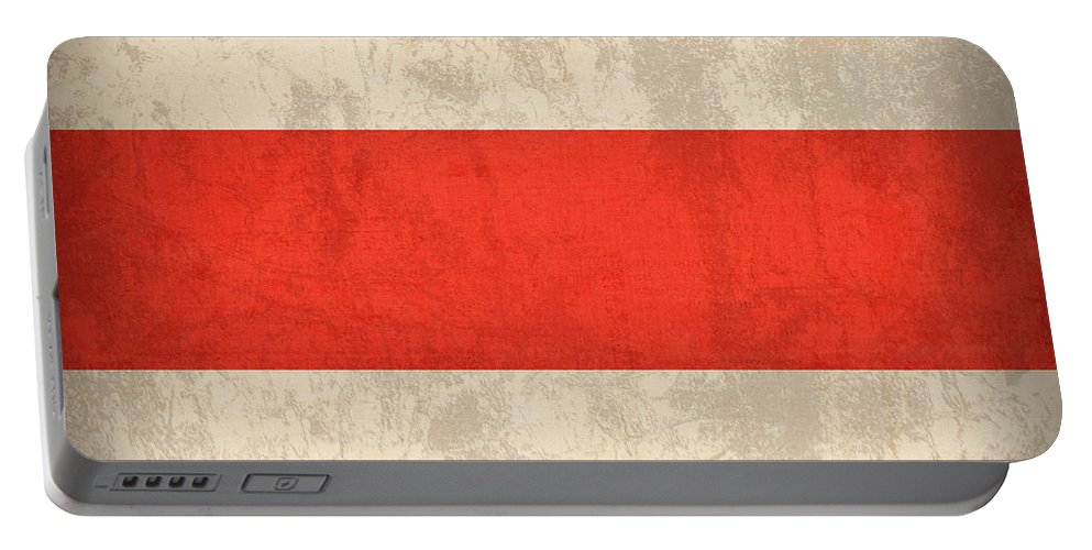 Costa Rica Flag Vintage Distressed Finish Portable Battery Charger featuring the mixed media Costa Rica Flag Vintage Distressed Finish by Design Turnpike