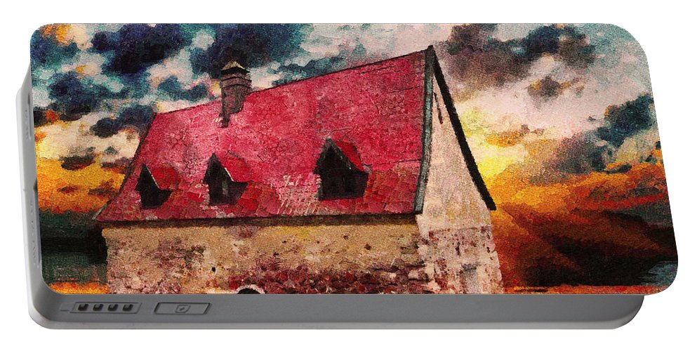 Cottage Portable Battery Charger featuring the mixed media Cottage By The Sea - Abstract Realism by Georgiana Romanovna