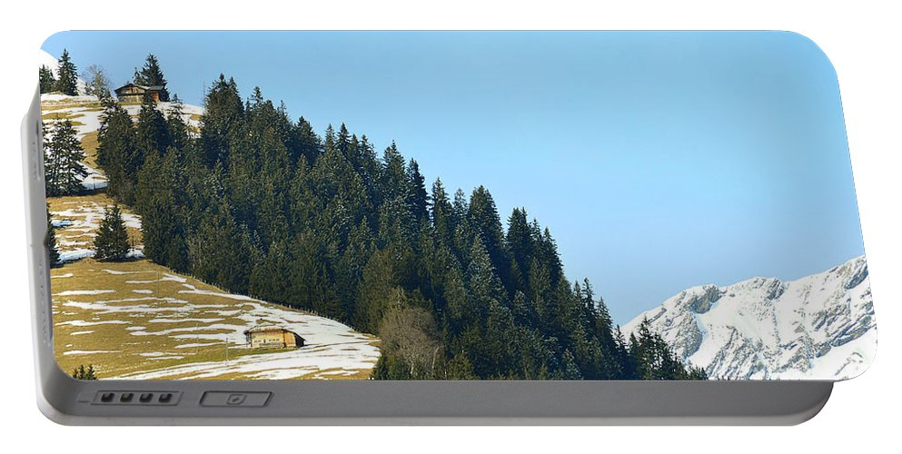 Alps Portable Battery Charger featuring the photograph Cottage In Alps by Felicia Tica