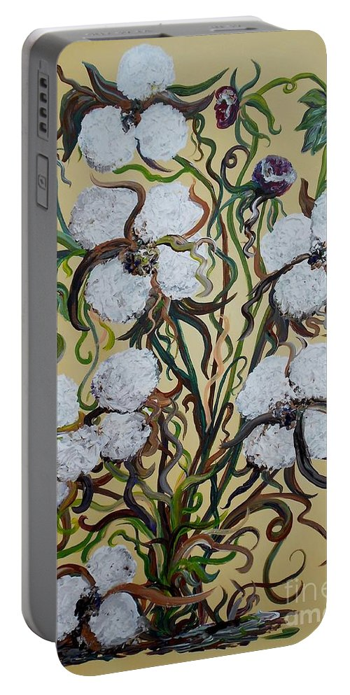 Impasto Portable Battery Charger featuring the painting Cotton #2 - Cotton Bolls by Eloise Schneider Mote