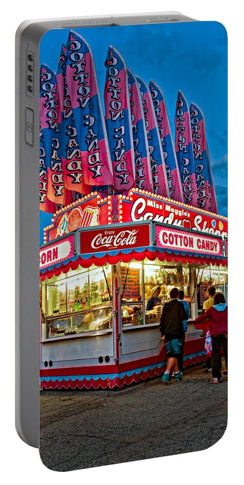 Bolton Fall Fair Portable Battery Charger featuring the photograph Cotton Candy by Steve Harrington