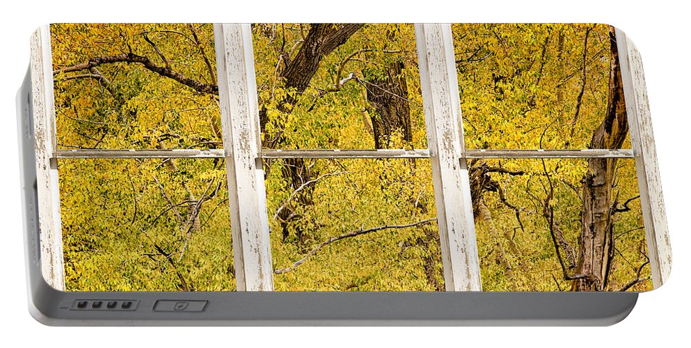 Window Portable Battery Charger featuring the photograph Cottonwood Fall Foliage Colors Rustic Farm Window View by James BO Insogna