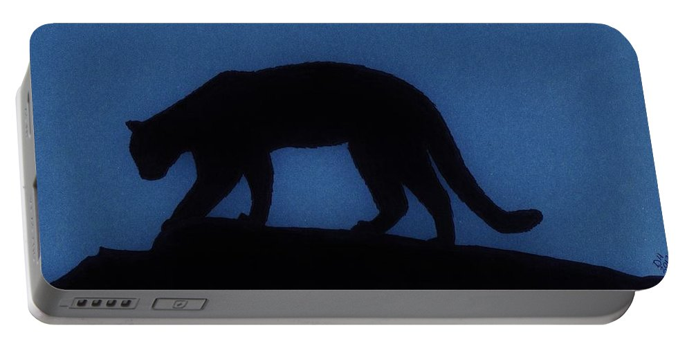Cougar Portable Battery Charger featuring the drawing Cougar - At - Night by D Hackett