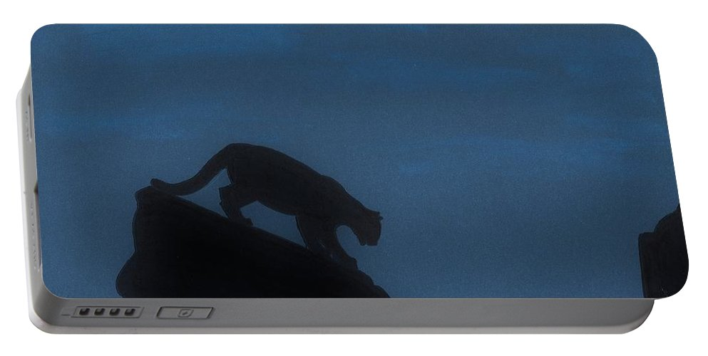 Cougar Portable Battery Charger featuring the drawing Cougar - Down - The - Mountain by D Hackett