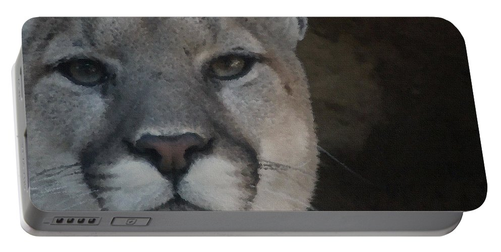Animals Portable Battery Charger featuring the digital art Cougar Digitally Enhanced by Ernie Echols