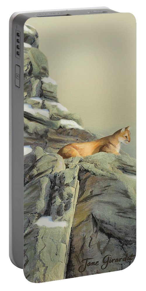 Cougar Portable Battery Charger featuring the painting Cougar Perch by Jane Girardot