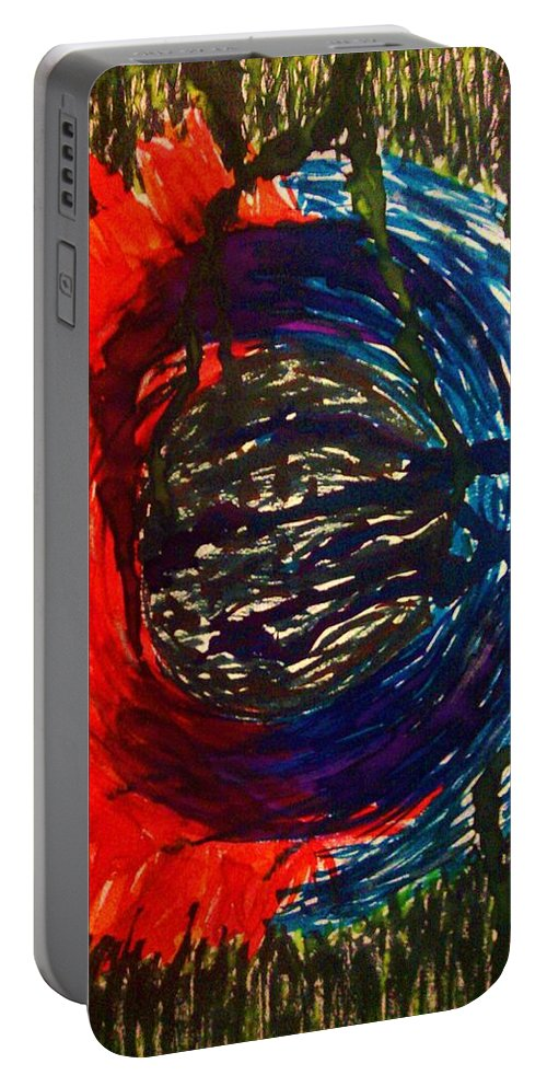 Mandala Portable Battery Charger featuring the painting Countertransference by Crystal Menicola